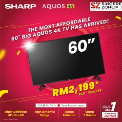 SHARP 60 INCH 4K UHD TV WIDE COLOUR DVB-T2X4 MASTER ENGINE PRO II 4TC60CH1X